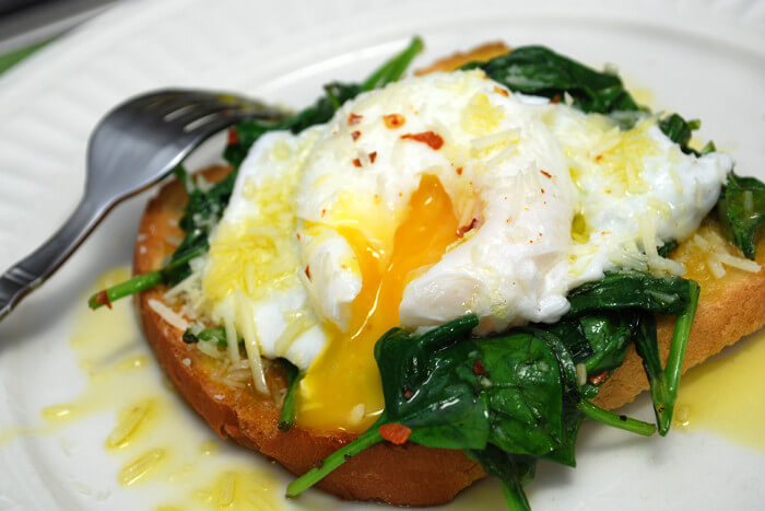 Acidic Eggs with Alkaline Spinach Meal photo